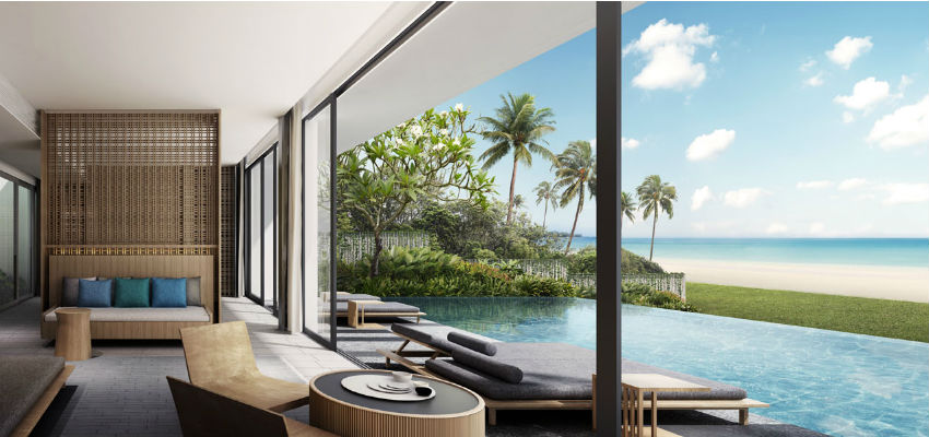 living area with beautiful pool view at Alila Villas Koh Russey in Cambodia